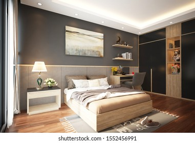 Hanoi / Vietnam - November 2019 : Modern Apartment Interior Bedroom Design with warm colour scheme, grey and white wall, mix wooden furniture and beautiful bedding stuff