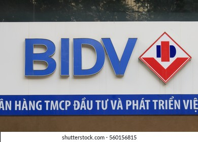 HANOI VIETNAM - NOVEMBER 22, 2016: BIDV bank. BIDV Bank for Investment and Development of Vietnam is a large state owned bank founded in 1957.