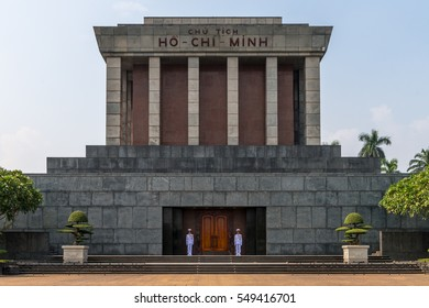 Hanoi, Vietnam - November 23, 2016: The Ho Chi Minh Mausoleum at Ba Dinh Square in Hanoi iis located at the place where the former Vietminh leader read the declaration of independence