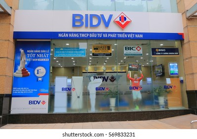 HANOI VIETNAM - NOVEMBER 24, 2016: BIDV bank office. BIDV Bank for Investment and Development of Vietnam is a large state owned bank founded in 1957.