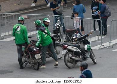 Hanoi Vietnam November 24 2018 Uber and Grap motobike in Hanoi Vietnam.One of the most convenient transportation means in Vietnam
