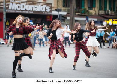 Hanoi Vietnam November 24 2018 free-style street dance groups is dancing to Kpop Cover songs on the Hanoi tourist walking street, an activity that attracts tourists