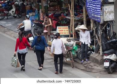 Hanoi Vietnam November 6 2017 Life in Vietnam- Hanoi,Vietnam Street vendors and Cyclo  in Hanoi's Old Quarter