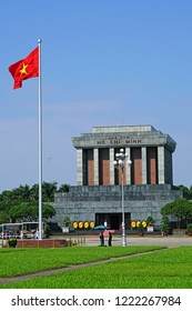 HANOI, VIETNAM - OCT 01, 2018 - Ho Chi Minh mausoleum is a large memorial in downtown Hanoi surrounded by Ba Dinh Square. It houses the embalmed body of former Vietnamese leader president Ho Chi Minh.