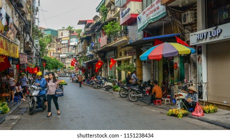 Hanoi, Vietnam - Oct 31, 2015. View of Old Quarter in Hanoi, Vietnam. The quarter is an attraction for people interested in the history of Hanoi.