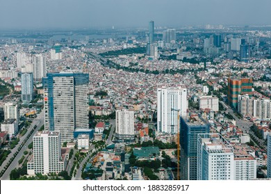 Hanoi, Vietnam - October 14, 2018: Hanoi city view from one of the higest buildings in the city, Hanoi, Vietnam