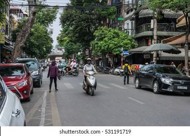 HANOI, VIETNAM - OCTOBER 27, 2016: Motorbike on street of Old Quarter