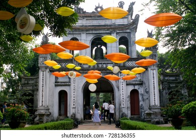 Hanoi Vietnam October 3 2017 Van Mieu temple of Literature entrance decorated with flags and lanterns for the Mid-Autumn Festival in Hanoi, Vietnam