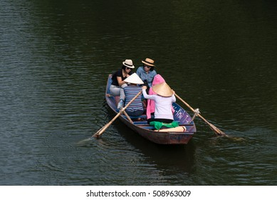 HaNoi, VietNam, october, 9, 2016: touris on Yen stream. Yen stream on the way to Huong pagoda in autumn, Hanoi, Vietnam. Vietnam landscapes.