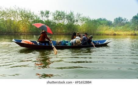 HANOI, VIETNAM October 9, 2017: Traveling by boat on streams YEN in Hanoi, Vietnam.