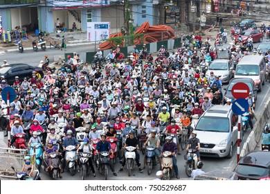 Hanoi, Vietnam - Sep 14, 2016: Aerial view of traffic in rush hour in Truong Chinh street