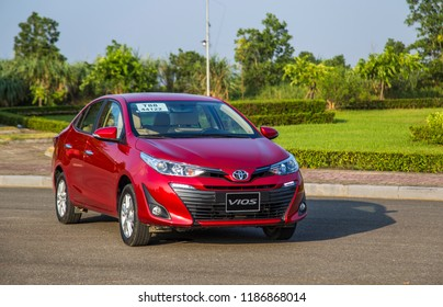 Hanoi, Vietnam - Sep 20, 2018: Toyota Vios 2018 all new on the test road in test drive, Vietnam