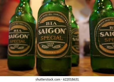 Hanoi, Vietnam: SEP, 21, 2010. Saigon beer bottle in restaurant.