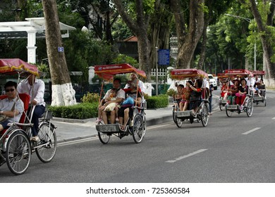 Hanoi, vietnam Sep 21, 2017: Daily life in corner of hanoi old town, Peaceful with tourists and pedicabs, peddlers