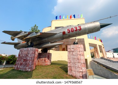 Hanoi, Vietnam - Sep 8, 2009: North Vietnamese MiG-21 fighter jet plane on display in the Victory Museum, Hanoi. Vietnam