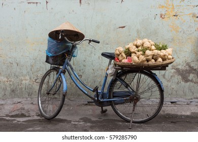 HANOI, VIETNAM - SEPTEMBER 09, 2016: Bicycle used to sell vegetables.