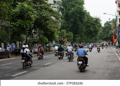 HANOI, VIETNAM - SEPTEMBER 09, 2016:Motorbike traffic.