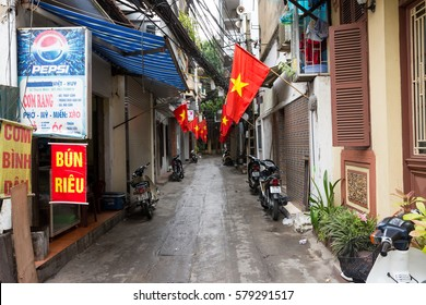 HANOI, VIETNAM - SEPTEMBER 10, 2016: Alleyway in the suburb of Hanoi.