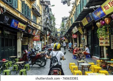 Hanoi, Vietnam. September. 12. 2017: Street life for the streets of Hanoi in Vietnam.