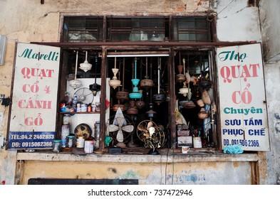 HANOI, VIETNAM - September 13, 2017 : Repair shop, collection of restoration