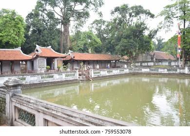 HANOI, VIETNAM - SEPTEMBER  18 - The Thien Quang well inside temple of literature on september 18, 2016 in Hanoi, Vietnam