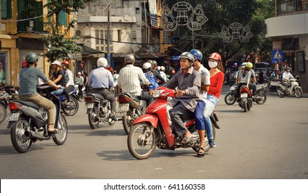 Hanoi, VIetnam - September 28 November 2014:traffic jams in the city, road, rush hour at crossroad in Hanoi,VIetnam.Vietnamese people use motorcycles are mainly
