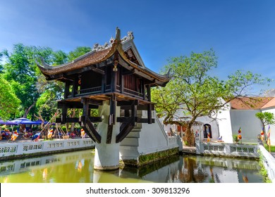 HANOI, VIETNAM-AUG 17, 2015 - The One Pillar Pagoda is a historic Buddhist was built in 1049 by King Ly Thai Tong according to his dream of Bodhisattva seating on a lotus flower led him to the pagoda