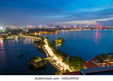 Hanoi westlake topview from above at blue hour 2019