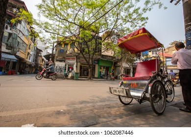Hanoi,Old Quarter, Vietnam - March 22, 2018: Tourist taxi bicycle at streetlife in the parth of old historical town