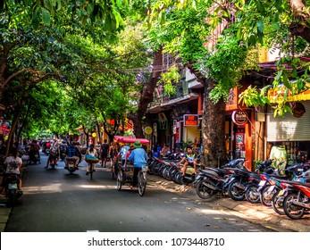 HANOI/VIETNAM - 09 16 14: Constant traffic in the Old Quarter of Hanoi