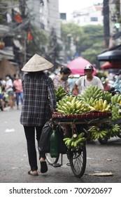 hanoi,vietnam jul 22, 2017: vietnam's street vendors in Hanoi's Old Quarter