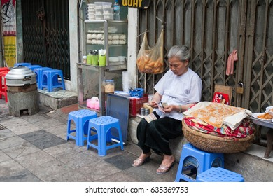 Hanoi,VietNam May 07,2017:Vietnamese Old woman selling soup in old Town