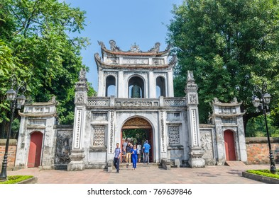 Hanoi,Vietnam - November 1,2017 : Entrance of the Temple of Literature, it also known as Temple of Confucius in Hanoi. People can seen exploring around it.