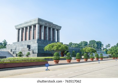 Hanoi,Vietnam - November 1,2017 : Ho Chi Minh Mausoleum is a large building located in the center of Ba Dinh Square,where Ho Chi Minh read the Declaration of Independence on 2 September 1945.