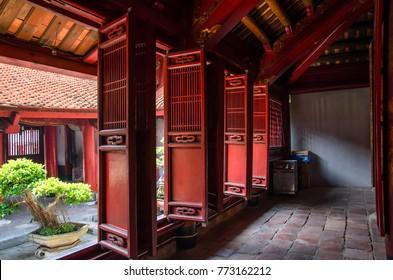 Hanoi,Vietnam - November 1,2017 : Interior view of Temple of Literature ,it also known as Temple of Confucius in Hanoi.