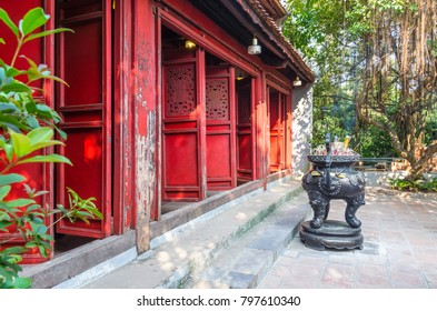 """Hanoi,Vietnam - November 2,2017 : Exterior view of Ngoc Son Temple it also known as """"The Temple of the Jade Mountain"""" which is located at Hoan Kiem Lake in central Hanoi,Vietnam."""