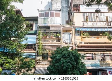 Hanoi,Vietnam - November 2,2017 : View of ancient building in Hanoi Old Quarter ,Vietnam.