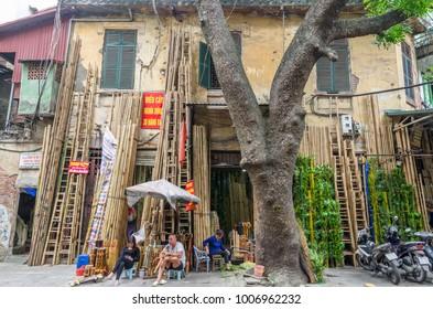 Hanoi,Vietnam - November 5,2017 : Local daily life of street trading in Hanoi Old Quarter, Vietnam.