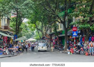 Hanoi,Vietnam - November 5,2017 : View of street view in Hanoi Old Quarter, capital of Vietnam. People can seen exploring around it.