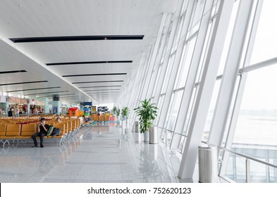 Hanoi,Vietnam - November 6,2017 : Passengers can seen waiting for their flight in the Noi Bai International Airport,Vietnam.