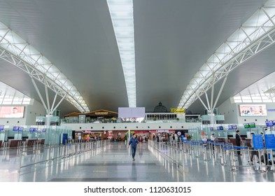 Hanoi,Vietnam - November 6,2017 : Travellers can seen exploring and waiting their flight in Noi Bai International Airport,Vietnam.