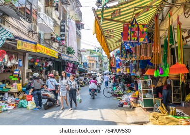Hanoi,Vietnam - October 31,2017 : View of street view in Hanoi Old Quarter, capital of Vietnam. People can seen exploring around it.