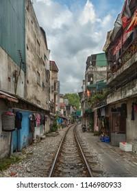 Hanoi/Vietnam-05.08.2017: Cityscape old train in Hanoi.