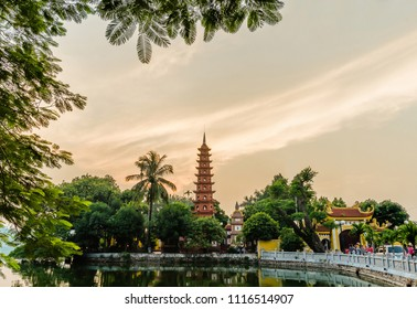 Hanoi,Vietname - November 1,2017 : Sunset view of Tran Quoc Pagoda. It is the oldest Buddhist temple in Hanoi and it located on a small peninsula on the East side of West Lake