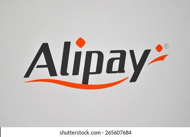 HANOVER, GERMANY, 20 MARCH 2015 - Logo of Alipay, the new payment gateway of Alibaba Group. This large Chinese ecommerce company announced Alipay during Cebit 2015.