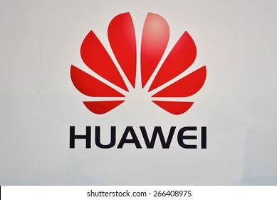 HANOVER, GERMANY, 20 March 2015 - Logo of Huawei displayed during CeBit, the largest IT trade show in the world.
