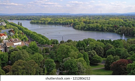 Hanover, Germany - May 03, 2011: Lake and Park Panorama of Maschsee Outdoors in Hannover, Germany.