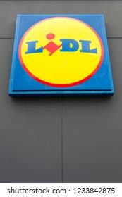 HANOVER, GERMANY - OCTOBER 25, 2018: Detail of Lidl store in Hanover, Germany. Lidl is an German global discount supermarket chain founded at 1930.