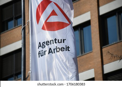 Hanover, Lower Saxony / Germany - April 12, 2020: Flag with the Logo of a Job Center - Agentur für Arbeit, the state owned employment agency in Hanover, Germany
