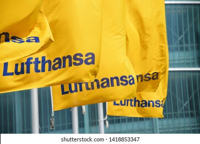 Hanover, Lower Saxony / Germany - May 5, 2019: Flags with the logo of Lufthansa in Hanover, Germany - Lufthansa is the largest German airline